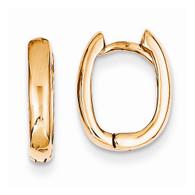 14k Rose Gold Oval Hinged Hoop Earrings