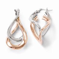 Leslie's Sterling Silver Rose Gold Plated Double Hoop Earrings