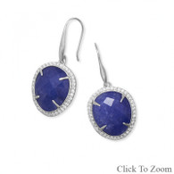 Sapphire Earrings with CZ Edge