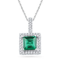 0.12CTW DIAMOND 1.25CTW LAB CREATED EMERALD PENDANT