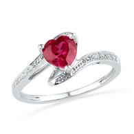 0.01CTW DIAMOND 1.10CTW LAB CREATED RUBY RING