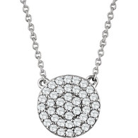 "14kt White 1/3 CTW Diamond Cluster 18"" Necklace"