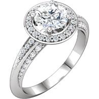 14kt White 1/3 CTW Diamond Semi-mount Engagement Ring for 5.8mm Round Center