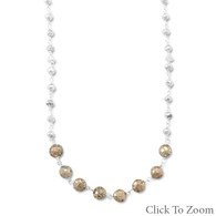 "16"" + 1.5"" Two Tone Pyrite Bead Necklace"
