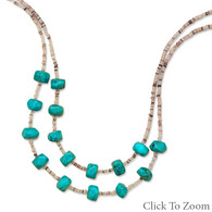 "16"" + 2"" Multistrand Necklace with Shell and Magnesite"