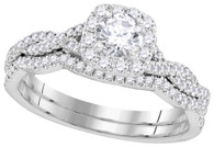 0.68CTW DIAMOND 0.25CT CENTER ROUNDD BRIDAL SET