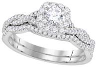 0.68CTW DIAMOND 0.25CT CENTER ROUNDD BRIDAL SET