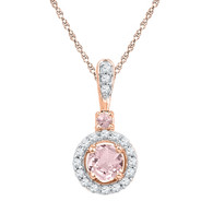 0.12CTW DIAMOND 0.33CTW MORGANITE PENDANT