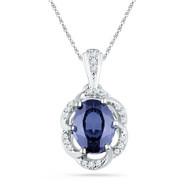 0.10CTW DIAMOND 1.65CTW LAB CREATED BLUE SAPPHIRE PENDANT
