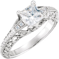 Diamond Scroll Semi Mount Engagement Ring