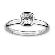 Stackable Expressions Sterling Silver Cushion Cut White Topaz Ring