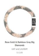 Rose Gold Rainbow and Big Grey Diamonds