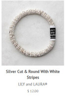 Silver Cut and Round with White Stripes