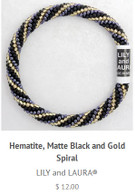 Hematite, Matte Black and Gold Spiral