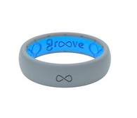 GROOVE THIN SILICONE RING   STORM GREY