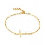 Gold Plated Sideways Cross Bracelet- CZ