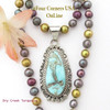 Dry Creek Turquoise Pendant Multi Color Adjustable Bead Necklace Navajo Nita Edsitty NAP-1437BDS Four Corners USA OnLine Native American Artisan Silver Jewelry