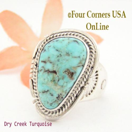 Size 10 1/2 Dry Creek Turquoise Ring Navajo Artisan John Nelson NAR-1630 Four Corners USA OnLine Native American Jewelry