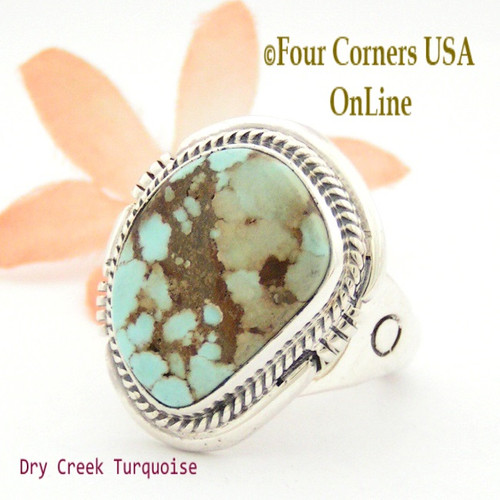 Size 11 1/2 Dry Creek Turquoise Ring Navajo Artisan John Nelson NAR-1631 Four Corners USA OnLine Native American Jewelry