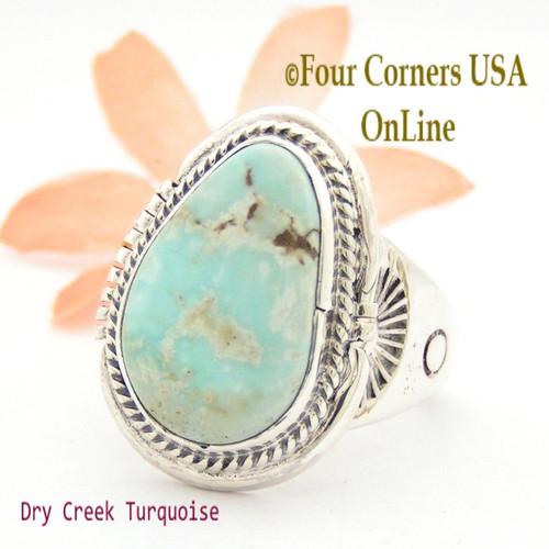 Size 12 3/4 Dry Creek Turquoise Ring Navajo Artisan John Nelson NAR-1633 Four Corners USA OnLine Native American Jewelry