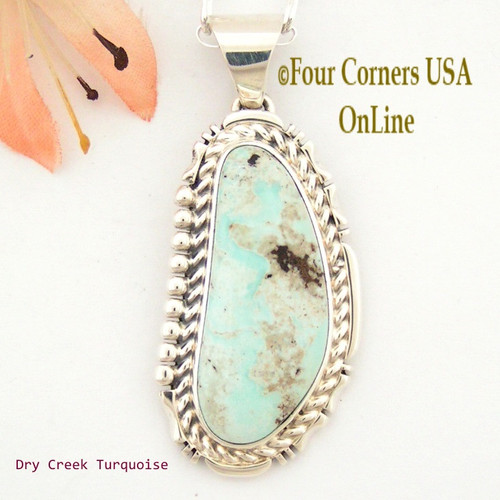 Elongated Dry Creek Turquoise Sterling Pendant Navajo Artisan Freddy Charley NAP-1541 Four Corners USA OnLine Fine Upscale Native American Jewelry