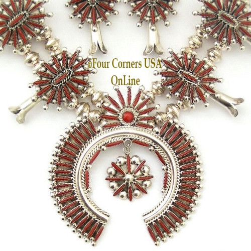 Coral Needlepoint Squash Blossom Necklace Earring Jewelry Set Zuni Artisans Lance and Cordelia Waatsa NAN-1431 Four Corners USA OnLine Naive American Jewelry