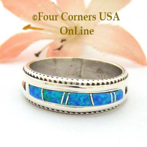 size 10 12 blue fire opal inlay band ring navajo artisan wilbert muskett jr - Turquoise Wedding Rings