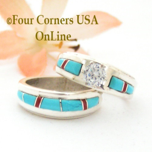 Size 8 Turquoise Red Coral Engagement Bridal Wedding Ring Set Native ...