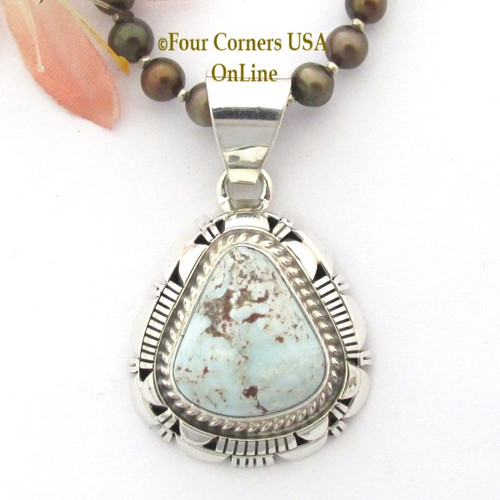 Dry Creek Turquoise Sterling Pendant Adjustable Bead Necklace Navajo Artisan Larry Moses Yazzie NAP-1697 Four Corners USA OnLine Native American Silver Jewelry