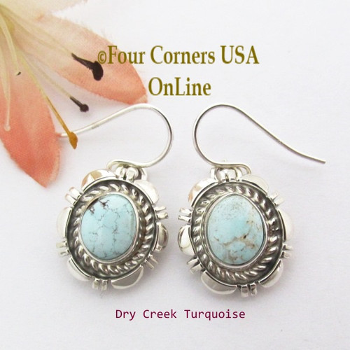 Dry Creek Turquoise Sterling Earrings Navajo Artisan Norvin Johnson NAER-1547 Four Corners USA OnLine Native American Silver Jewelry