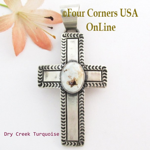 Dry Creek Turquoise Stamped Cross Pendant Navajo Artisan Jereme Delgarito NACR-1431 Four Corners USA OnLine Native American Jewelry