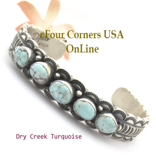 5 Stone Dry Creek Turquoise Cuff Bracelet Navajo Silversmith Jereme Delgarito NAC-1461 Four Corners USA OnLine Native American Jewelry