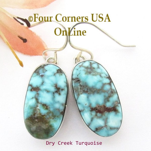 Dry Creek Turquoise Sterling Earrings Navajo Artisan Benson Shorty Four Corners USA OnLine Native American Jewelry NAER-1431