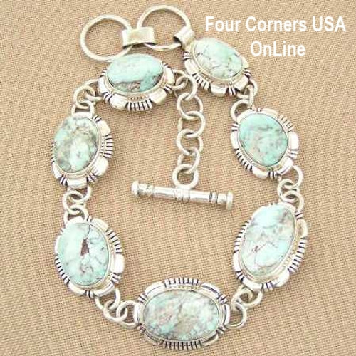 Dry Creek Turquoise 7 5/8 Inch Adjustable Link Bracelet Jane Francisco Four Corners USA OnLine Native American Indian Silver Jewelry NALB-1407