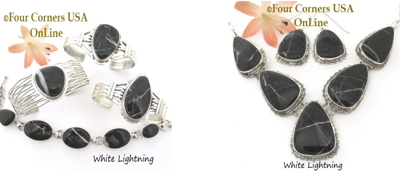 White Lightning Navajo Silver Jewelry Collection at Four Corners USA OnLine