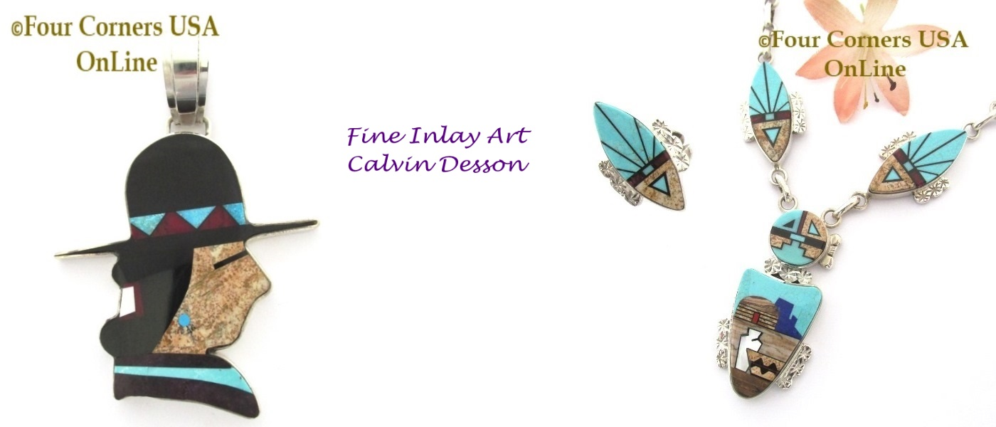 Fine Inlay Jewelry Art Navajo Calvin Desson at four Corners USA OnLine
