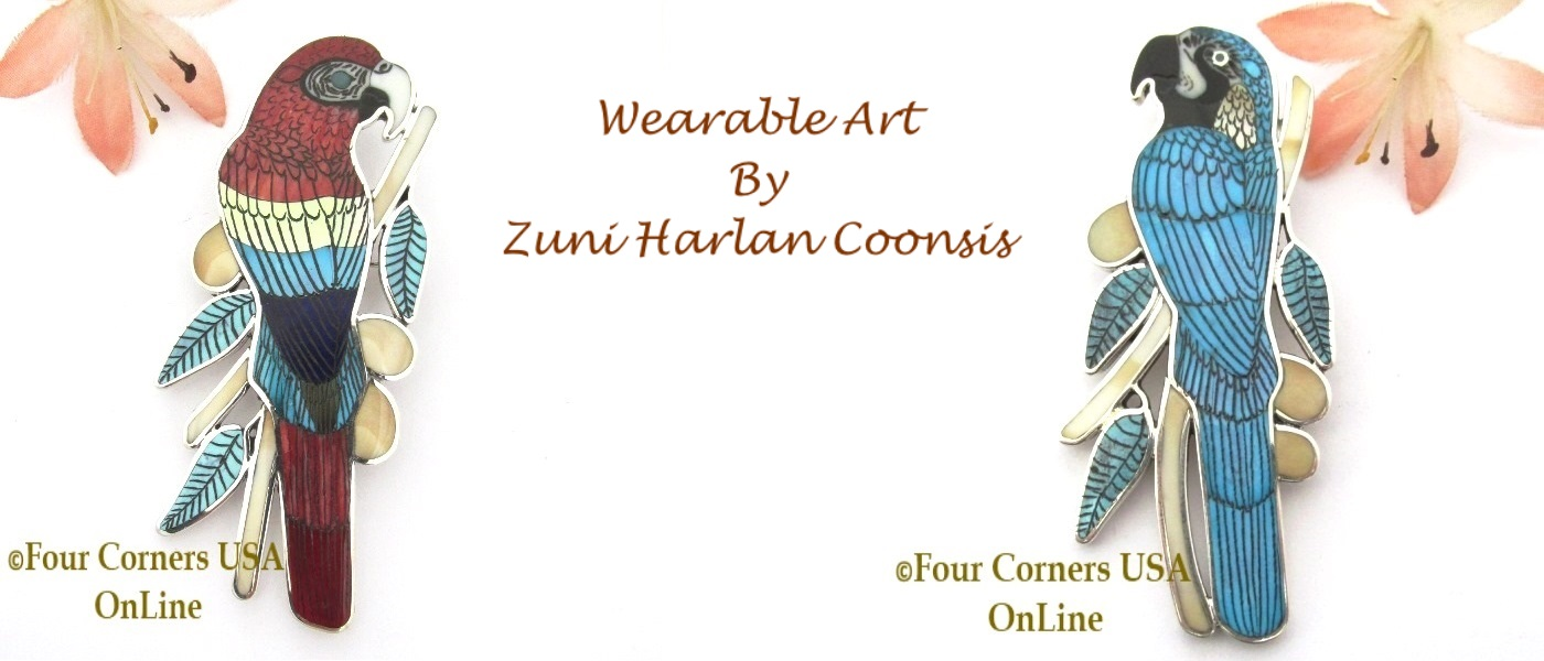 Macaw Parrot Inlay Jewelry Art by Zuni Harlan Coonsis Four Corners USA OnLine Native America Jewelry