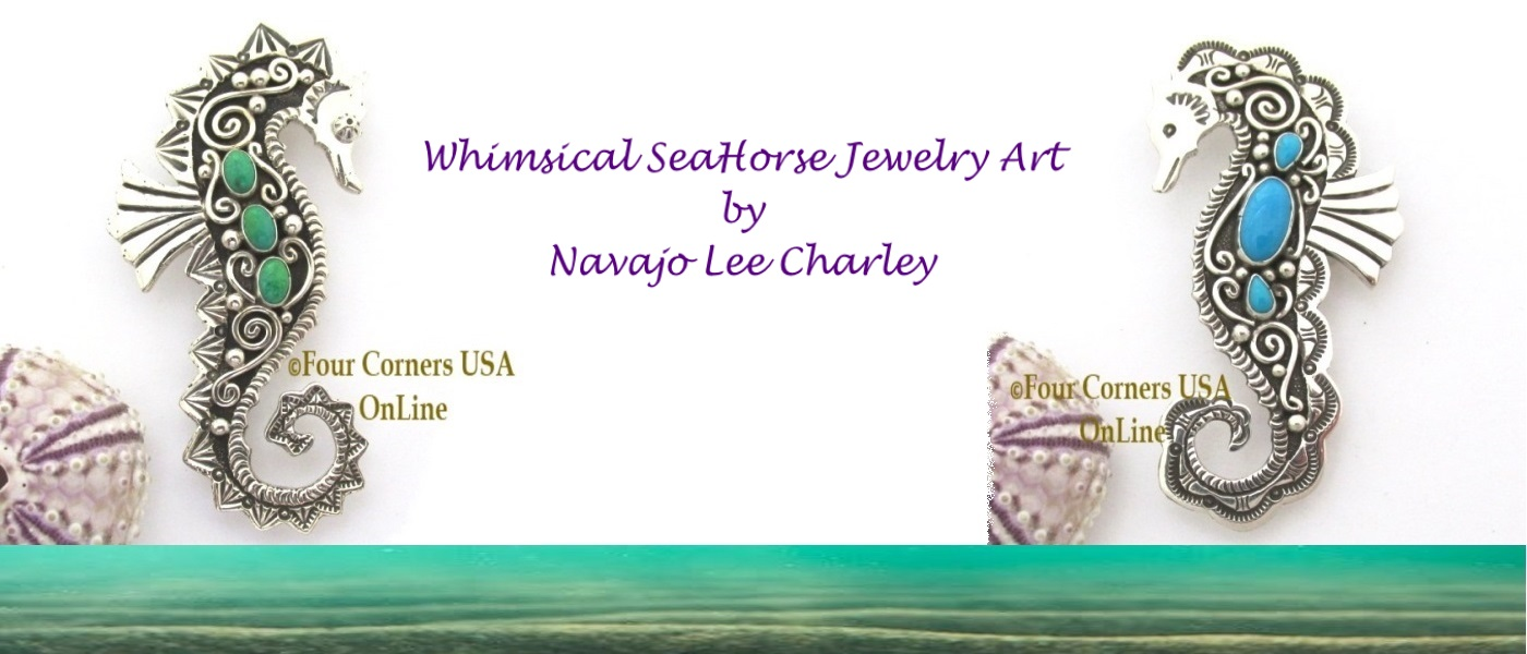 Whimsical SeaHorse Jewelry Art by Navajo Lee Charley Four Corners USA OnLine Native American Jewelry