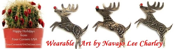 Wearable Art Pin Booches by Navajo Silversmith Lee Charley Four Corners USA OnLine Native American Jewelry