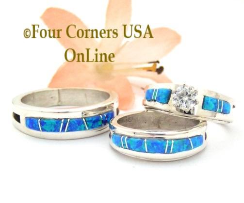 Blue Opal Engagement Wedding Ring Sets Native American Navajo