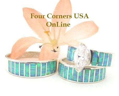 Blue Opal Engagement Wedding Ring Sets Native American Jewelry