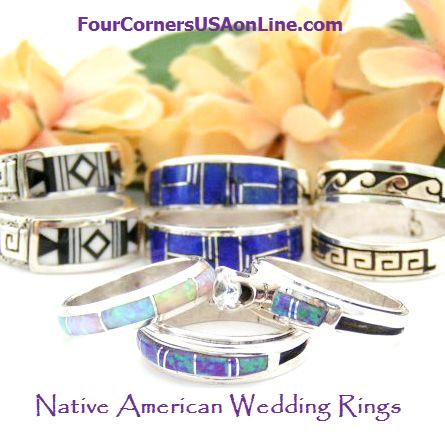 Native American Artisan Made Wedding Bands Engagement Bridal Ring Sets
