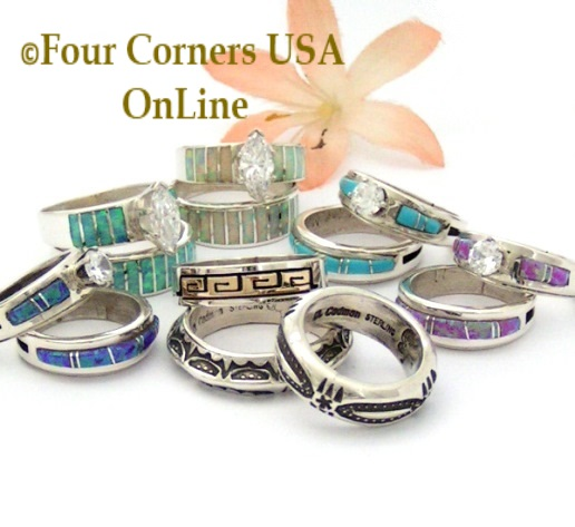 Navajo Engagement Wedding Ring Sets Wedding Bands Four Corners USA OnLine Native American Jewelry