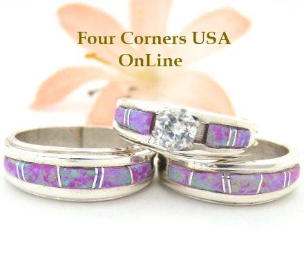 Pink Opal Engagement Wedding Ring Sets Native American Navajo
