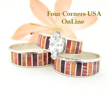 Spiny Oyster Shell Inlay Bridal Wedding Ring Sets Native