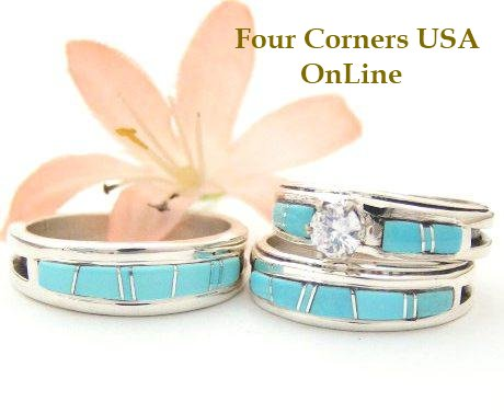 Custom Order Your Ring Size Native American Navajo Wedding Bands Bridal Engagement Ring Sets Wilbert Muskett Jr