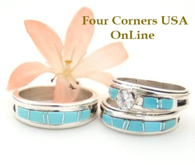 Turquoise Bridal Engagement Ring Sets Navajo Wedding Rings