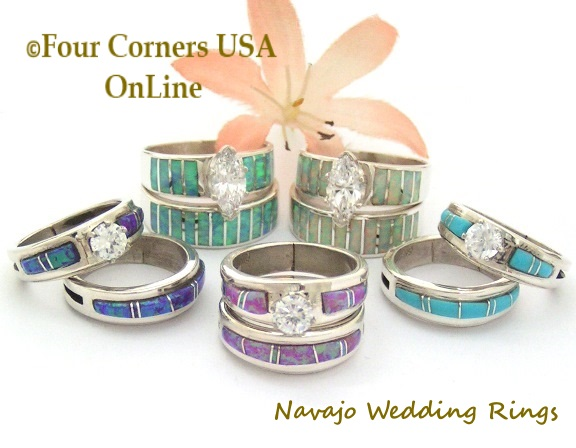Bridal Engagement Wedding Ring Sets Native American Jewelry