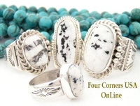 Sacred White Buffalo Turquoise Mens Womens Rings Four Corners USA OnLine Native American Jewelry
