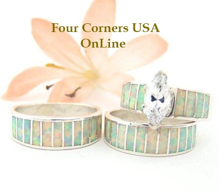 White Opal Inlay Wedding Ring Sets Navajo Wedding Rings